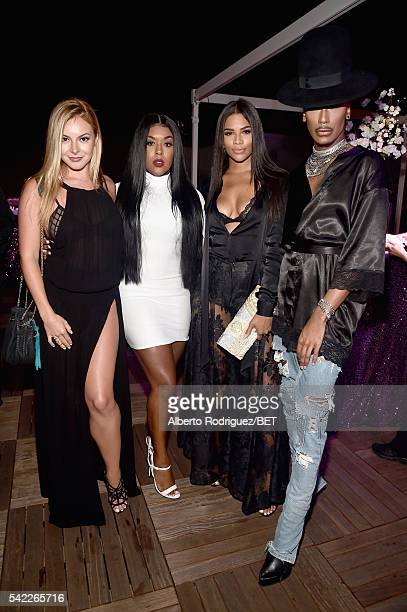 TV personalities Savannah Lynx Eny Oh Kamie Crawford and Stephon Mendoza attend Debra Lee's PRE kicking off the 2016 BET Awards on June 22 2016 in...