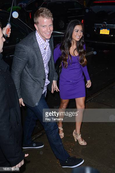 TV personalities Sean Lowe and Catherine Giudici enter the 'Good Morning America' taping at the ABC Times Square Studios on March 12 2013 in New York...