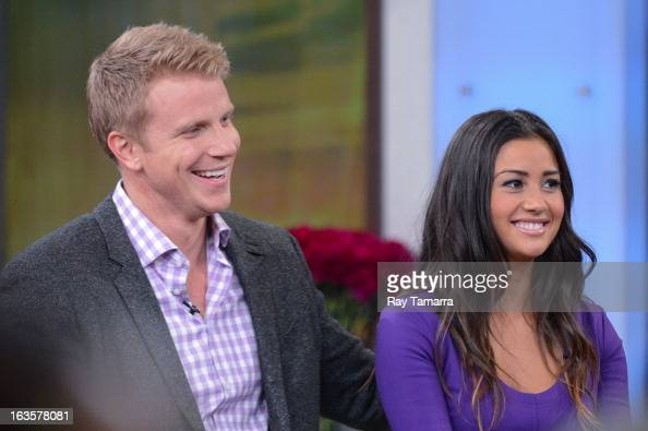 TV personalities Sean Lowe and Catherine Giudici tape an interview at 'Good Morning America' at the ABC Times Square Studios on March 12 2013 in New...