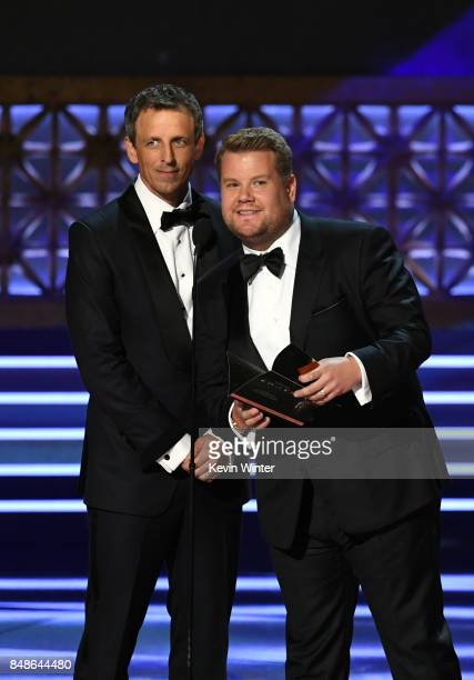TV personalities Seth Meyers and James Corden speak onstage during the 69th Annual Primetime Emmy Awards at Microsoft Theater on September 17 2017 in...