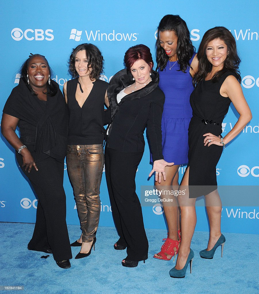 TV personalities Sheryl Underwood Sara Gilbert Sharon Osbourne Aisha Tyler and Julie Chen of 'The Talk' arrive at the CBS 2012 fall premiere party at...
