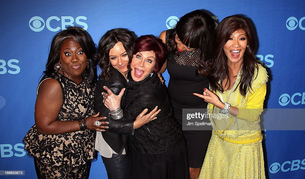 TV Personalities Sheryl Underwood, Sara Gilbert, Sharon Osbourne, Aisha Tyler and Julie Chen attend the 2013 CBS Upfront at The Tent at Lincoln Center on May 15, 2013 in New York City.