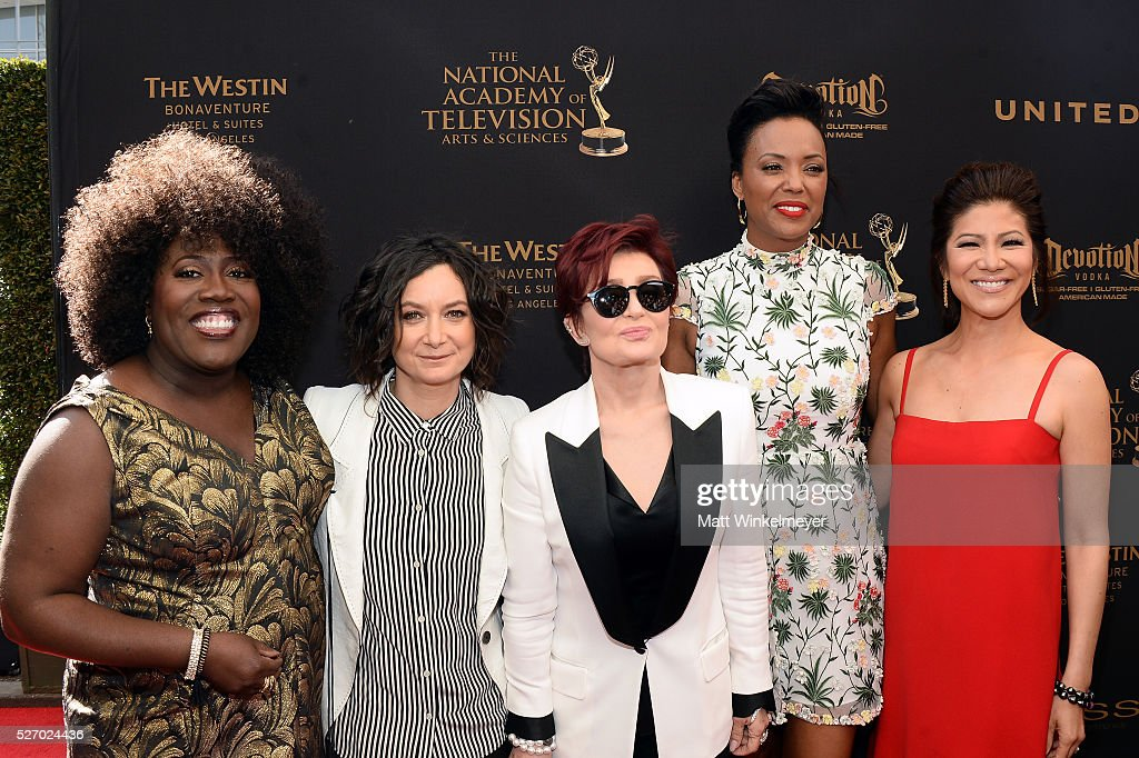TV personalities <a gi-track='captionPersonalityLinkClicked' href=/galleries/search?phrase=Sheryl+Underwood&family=editorial&specificpeople=778885 ng-click='$event.stopPropagation()'>Sheryl Underwood</a>, <a gi-track='captionPersonalityLinkClicked' href=/galleries/search?phrase=Sara+Gilbert&family=editorial&specificpeople=585732 ng-click='$event.stopPropagation()'>Sara Gilbert</a>, <a gi-track='captionPersonalityLinkClicked' href=/galleries/search?phrase=Sharon+Osbourne&family=editorial&specificpeople=203094 ng-click='$event.stopPropagation()'>Sharon Osbourne</a>, <a gi-track='captionPersonalityLinkClicked' href=/galleries/search?phrase=Aisha+Tyler&family=editorial&specificpeople=202262 ng-click='$event.stopPropagation()'>Aisha Tyler</a>, and <a gi-track='captionPersonalityLinkClicked' href=/galleries/search?phrase=Julie+Chen&family=editorial&specificpeople=206213 ng-click='$event.stopPropagation()'>Julie Chen</a> walk the red carpet at the 43rd Annual Daytime Emmy Awards at the Westin Bonaventure Hotel on May 1, 2016 in Los Angeles, California.