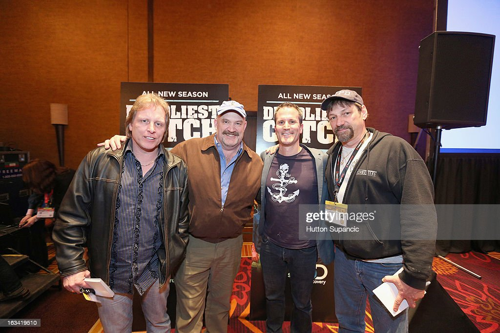 TV personalities Sig Hansen, Keith Colburn and Jonathan Hillstrand pose with a fan (2nd from R) at Deadliest Catch's Twitter For Tough Guys during the 2013 SXSW Music, Film + Interactive Festival at Hyatt Regency Austin on March 9, 2013 in Austin, Texas.
