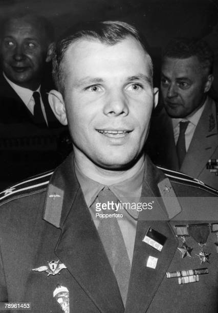 July 1961 London Russian cosmonaut Yuri Gagarin is pictured at a Soviet Exhibition at Earls Court during his 4 day visit to Great Britain Yuri...