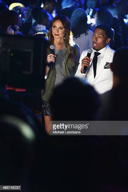 TV personalities Stacy Keibler and Nick Cannon attend Janelle Monae's performance during VH1's 'Super Bowl Blitz Six Nights Six Concerts' at Lehman...