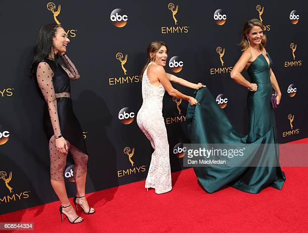 TV personalities Stacy London Kit Hoover and Natalie Morales attend the 68th Annual Primetime Emmy Awards at Microsoft Theater on September 18 2016...