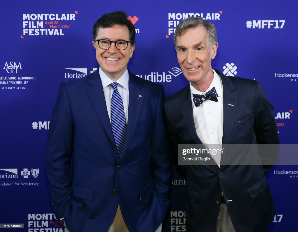 TV personalities Stephen Colbert and Bill Nye attend 2017 Montclair Film Festival on May 6, 2017 in Montclair, New Jersey.