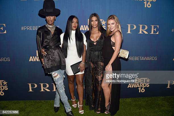 TV personalities Stephon Mendoza Eny Oh Kamie Crawford and Savannah Lynx attend Debra Lee's PRE kicking off the 2016 BET Awards on June 22 2016 in...