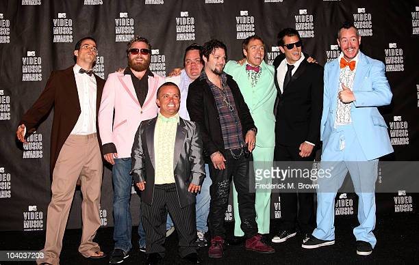 TV Personalities SteveO Ryan Dunn Wee Man Preston Lacy Bam Marjera Dave England Johnny Knoxville and Ehren McGhehe of Jackass poses in the press room...