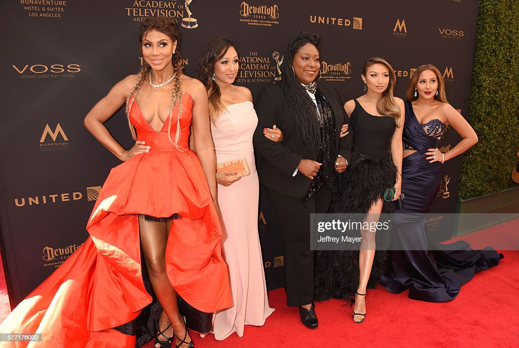 TV personalities Tamar Braxton, Tamera Mowry Housley, Loni Love, Jeannie Mai and Adrienne Bailon attend the 2016 Daytime Emmy Awards - Arrivals at Westin Bonaventure Hotel on May 1, 2016 in Los Angeles, California.