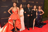 TV personalities Tamar Braxton Tamera Mowry Housley Loni Love Jeannie Mai and Adrienne Bailon attend the 2016 Daytime Emmy Awards Arrivals at Westin...