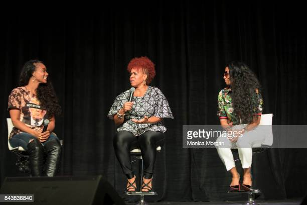 TV Personalities Tami Roman Erica Campbell and Karlie Redd on stage during the 2017 Women's Empowerment Expo at Cobo Center on August 26 2017 in...