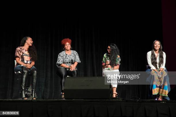 TV Personalities Tami Roman Tina Campbell Karlie Redd and Deelishis on stage during the 2017 Women's Empowerment Expo at Cobo Center on August 26...