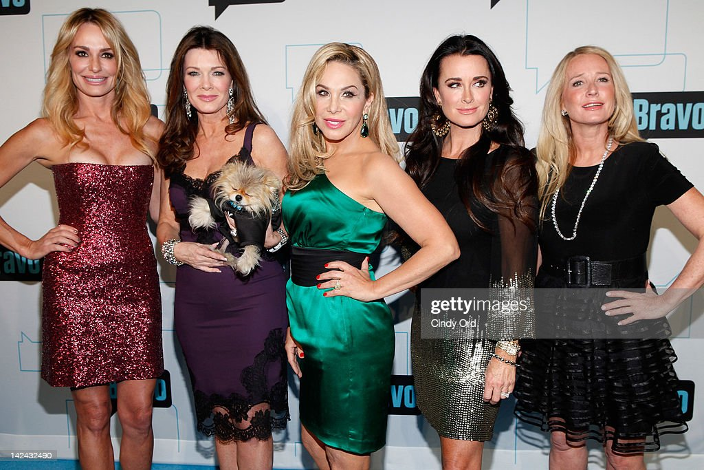 TV personalities Taylor Armstrong, Lisa Vanderpump, Adrienne Maloof, Kyle Richards and Kim Richards of Real Housewives of Beverly Hills attend the Bravo Upfront 2012 at Center 548 on April 4, 2012 in New York City.