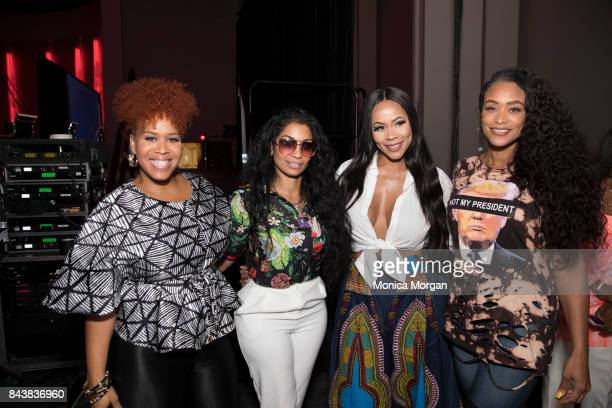 TV Personalities Tina Campbell Karlie Redd Deelishis and Tami Roman backstage during the 2017 Women's Empowerment Expo at Cobo Center on August 26...