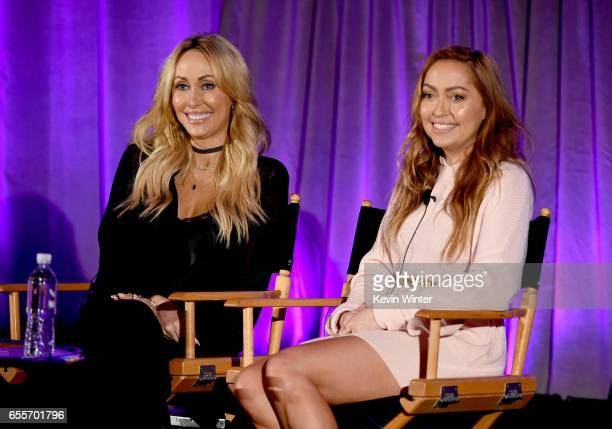 TV personalities Tish Cyrus and Brandi Cyrus of 'Cyrus vs Cyrus Design and Conquer' speak onstage during the 2017 NBCUniversal Summer Press Day at...