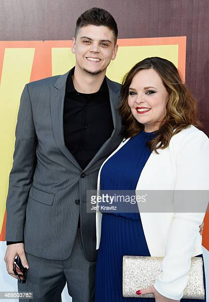 TV personalities Tyler Baltierra and Catelynn Lowell attend The 2015 MTV Movie Awards at Nokia Theatre LA Live on April 12 2015 in Los Angeles...