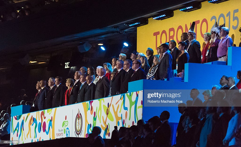 CENTRE, TORONTO, ONTARIO, CANADA - : Personalities watching the opening ceremony of the Toronto 2015 PanAm games. Some dignataries are <a gi-track='captionPersonalityLinkClicked' href=/galleries/search?phrase=Stephen+Harper+-+Politician&family=editorial&specificpeople=690870 ng-click='$event.stopPropagation()'>Stephen Harper</a>,<a gi-track='captionPersonalityLinkClicked' href=/galleries/search?phrase=Joe+Oliver+-+Politician&family=editorial&specificpeople=12583406 ng-click='$event.stopPropagation()'>Joe Oliver</a>,<a gi-track='captionPersonalityLinkClicked' href=/galleries/search?phrase=David+Johnston+-+Politician&family=editorial&specificpeople=7915223 ng-click='$event.stopPropagation()'>David Johnston</a>,<a gi-track='captionPersonalityLinkClicked' href=/galleries/search?phrase=Kathleen+Wynne&family=editorial&specificpeople=10626599 ng-click='$event.stopPropagation()'>Kathleen Wynne</a> and <a gi-track='captionPersonalityLinkClicked' href=/galleries/search?phrase=John+Tory&family=editorial&specificpeople=6262297 ng-click='$event.stopPropagation()'>John Tory</a>.