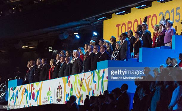 CENTRE TORONTO ONTARIO CANADA Personalities watching the opening ceremony of the Toronto 2015 PanAm games Some dignataries are Stephen HarperJoe...