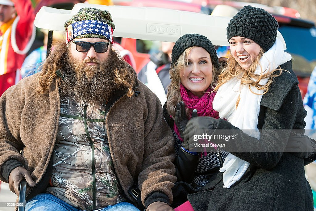 TV personalities Willie Robertson, Korie Robertson and Sadie Robertson of Duck Dynasty attends the 87th annual Macy's Thanksgiving Day parade on November 28, 2013 in New York City.