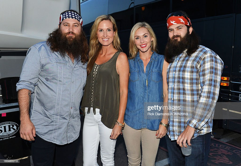 TV personalities Willie Robertson, Korie Robertson, Jessica Robertson and Jep Robertson backstage at the ACM Party For A Cause Festival during the 48th Annual Academy of Country Music Awards at the Orleans Arena on April 6, 2013 in Las Vegas, Nevada.