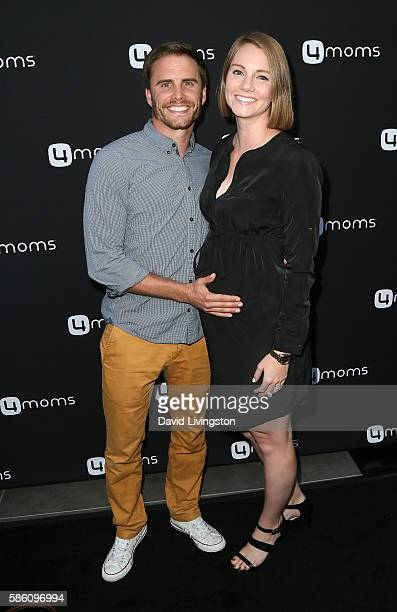 TV personalities/husband wife Michael Stagliano and Emily Tuchscherer attend 4moms launch of a selfinstalling car seat at Petersen Automotive Museum...
