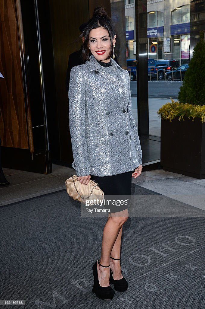 TV personality Adriana De Moura leaves her Soho hotel on April 3, 2013 in New York City.