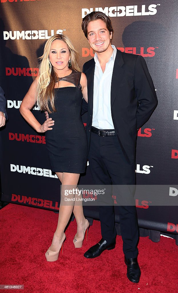 TV personality Adrienne Maloof (R) and Anheuser-Busch heir Jacob Busch attend the premiere of GoDigital's 'Dumbbells' at SupperClub Los Angeles on January 7, 2014 in Los Angeles, California.