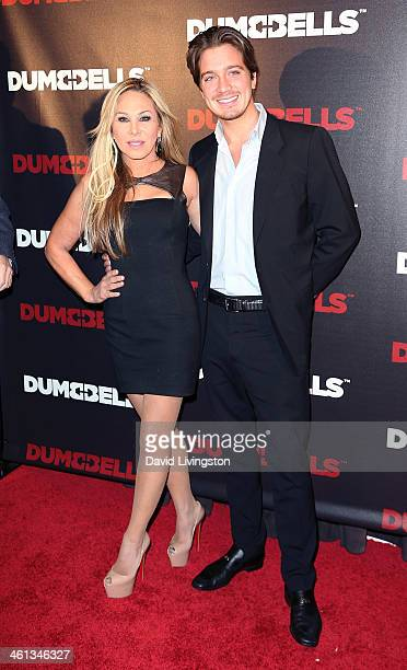 TV personality Adrienne Maloof and AnheuserBusch heir Jacob Busch attend the premiere of GoDigital's 'Dumbbells' at SupperClub Los Angeles on January...