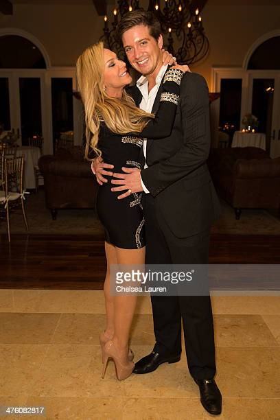 TV personality Adrienne Maloof and Jacob Busch attend Nikki Sixx and Courtney Bingham's prewedding bash on March 1 2014 in Los Angeles California