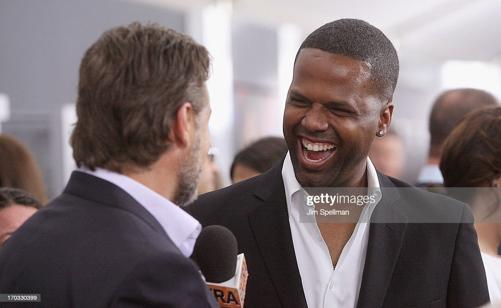 TV personality AJ Calloway (R) and actor Russell Crowe attend the 'Man Of Steel' World Premiere at Alice Tully Hall at Lincoln Center on June 10, 2013 in New York City. (Photo by Jim Spellman/WireImage) NEW YORK, NY - JUNE 10: TV personality AJ Calloway (R) speaks to Russell Crowe at the 'Man Of Steel' World Premiere at Alice Tully Hall at Lincoln Center on June 10, 2013 in New York City.