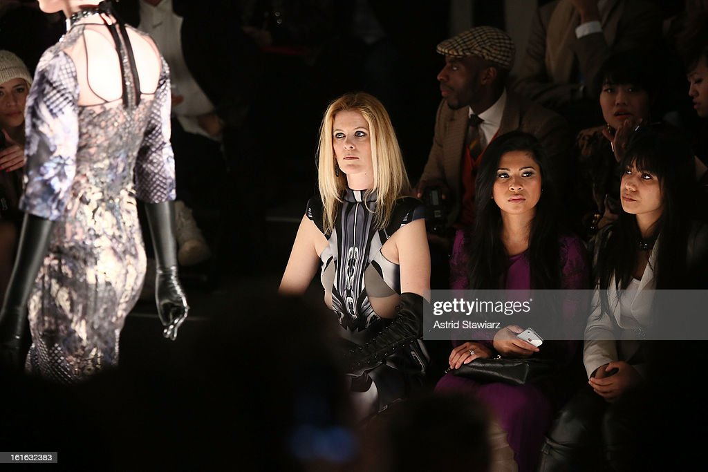 TV personality Alex McCord (L) attends the Falguni & Shane Peacock Fall 2013 fashion show during Mercedes-Benz Fashion Week at The Studio at Lincoln Center on February 13, 2013 in New York City.