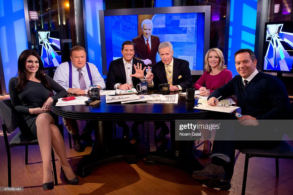 TV personality <a gi-track='captionPersonalityLinkClicked' href=/galleries/search?phrase=Alex+Trebek&family=editorial&specificpeople=595944 ng-click='$event.stopPropagation()'>Alex Trebek</a> (3rd R) and hosts of 'The Five' (L-R) <a gi-track='captionPersonalityLinkClicked' href=/galleries/search?phrase=Kimberly+Guilfoyle&family=editorial&specificpeople=240297 ng-click='$event.stopPropagation()'>Kimberly Guilfoyle</a>, Bob Beckel, Eric Bolling, <a gi-track='captionPersonalityLinkClicked' href=/galleries/search?phrase=Dana+Perino&family=editorial&specificpeople=571660 ng-click='$event.stopPropagation()'>Dana Perino</a> and Greg Gutfeld attend FOX News' 'The Five' at FOX Studios on February 26, 2014 in New York City.