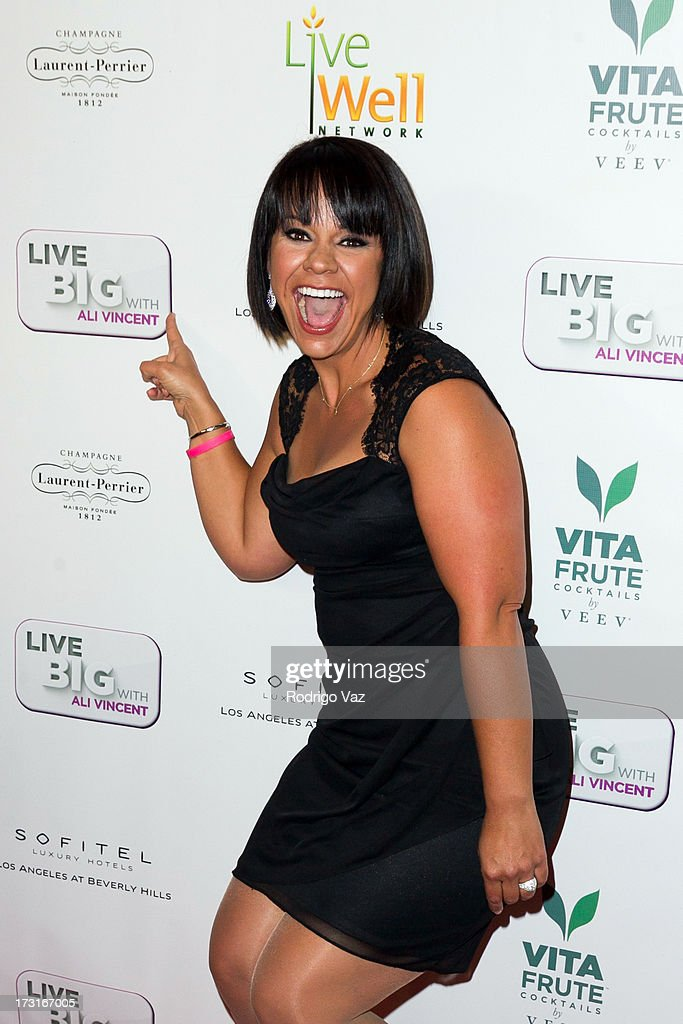 TV personality Ali Vincent arrives at 'Live Big With Ali Vincent' Season 3 launch party at Sofitel Hotel on July 8, 2013 in Los Angeles, California.