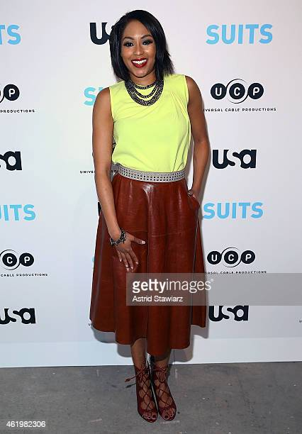 TV personality Alicia Quarles attends the Patrick J Adams Exhibition Opening of 'SUITS' Gallery at 402 West 13th Street on January 22 2015 in New...