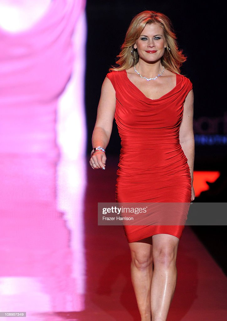 TV personality Alison Sweeney walks the runway at the Heart Truth Fall 2011 fashion show during Mercedes-Benz Fashion Week at The Theatre at Lincoln Center on February 9, 2011 in New York City.