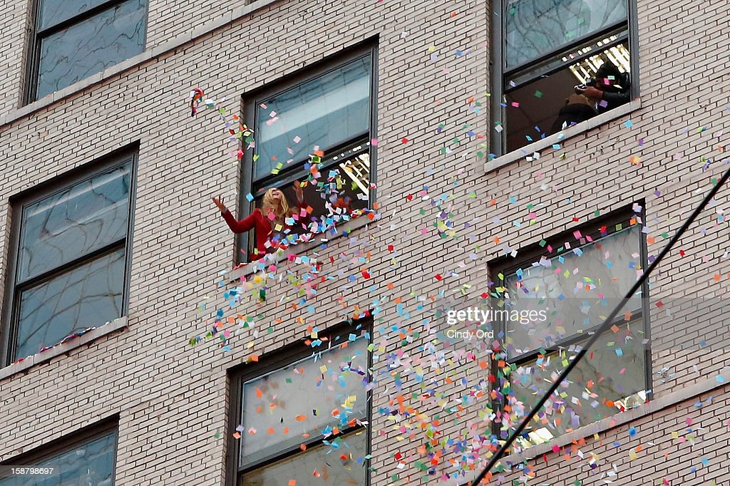 TV personality Allison Hagendorf participates in the New Year's Eve 2013 Confetti Airworthiness Test at Times Square Alliance Building on December 29, 2012 in New York City.