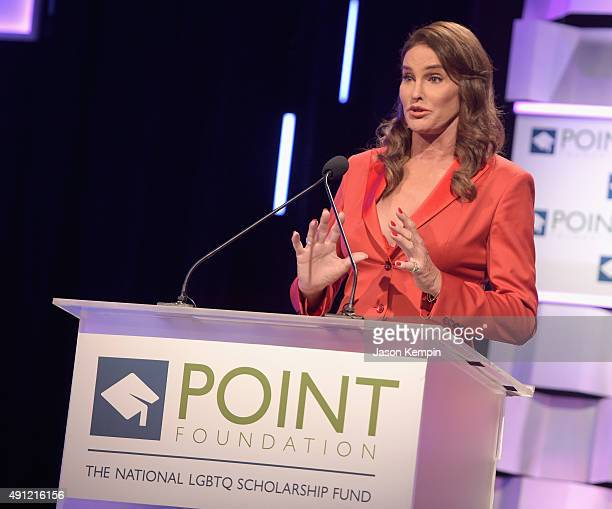 TV personality and activist Caitlyn Jenner speaks onstage during the Point Foundation's Annual Voices On Point Gala at the Hyatt Regency Century...