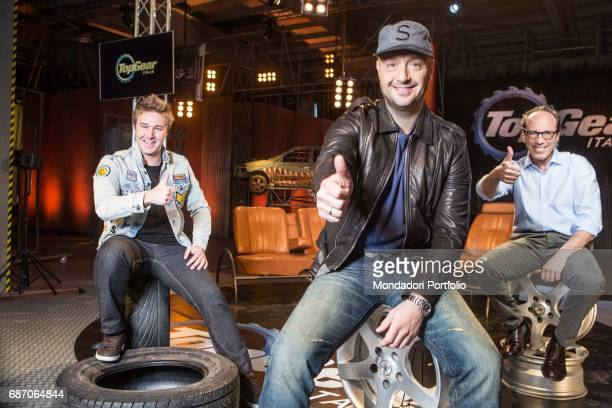 TV personality and entrepreneur Joe Bastianich racing driver Davide Valsecchi and commentator Guido Meda in the backstage of the TV show Top Gear...