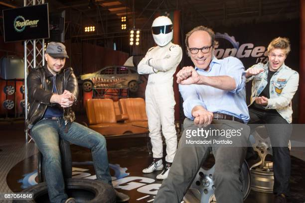 TV personality and entrepreneur Joe Bastianich racing driver Davide Valsecchi racing driver The Stig and commentator Guido Meda in the backstage of...