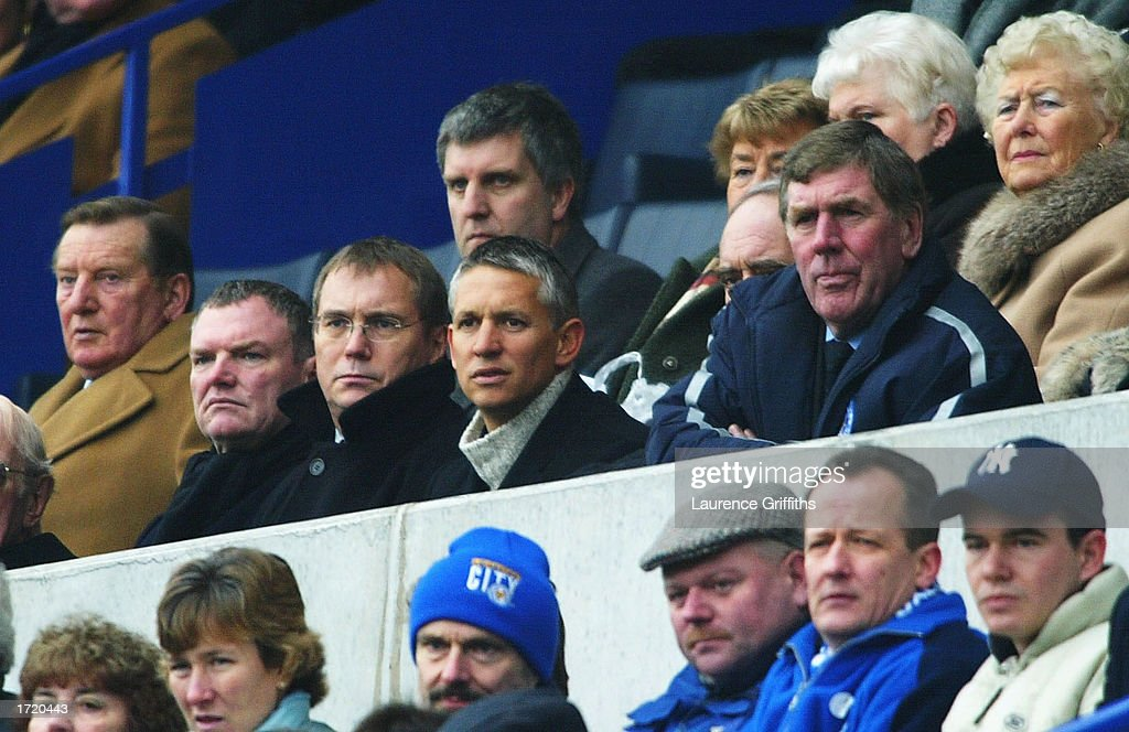 TV personality and former Leicester player Gary Lineker looks on from the terraces during the Nationwide First Division match between Leicester City and Stoke City on January 11, 2003 at the Walkers Stadium, Leicester, England.