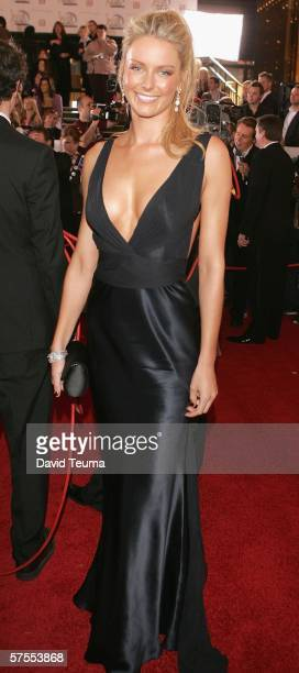 TV personality and former Miss Universe Jennifer Hawkins poses as she arrives for the 2006 TV Week Logie Awards at the Crown Entertainment Complex on...
