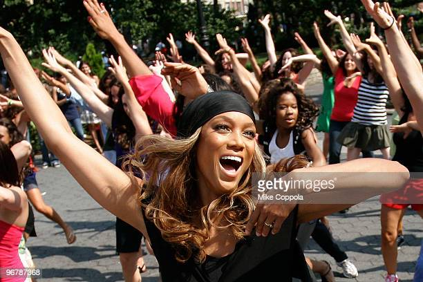 TV personality and former model Tyra Banks performs a dance flash mob for 'The Tyra Banks Show' in Union Square on August 17 2009 in New York City