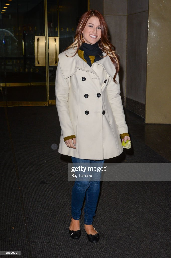 TV personality and singer Cassadee Pope leaves the 'Today Show' taping at the NBC Rockefeller Center Studios on December 20, 2012 in New York City.
