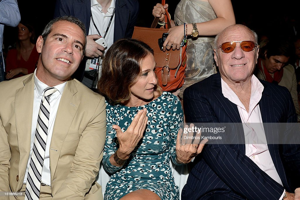 TV personality Andy Cohen, actress Sarah Jessica Parker and Barry Diller, Chairman and Senior Executive of IAC/InterActiveCorp attend the Diane Von Furstenberg Spring 2013 fashion show during Mercedes-Benz Fashion Week at The Theatre at Lincoln Center on September 9, 2012 in New York City.