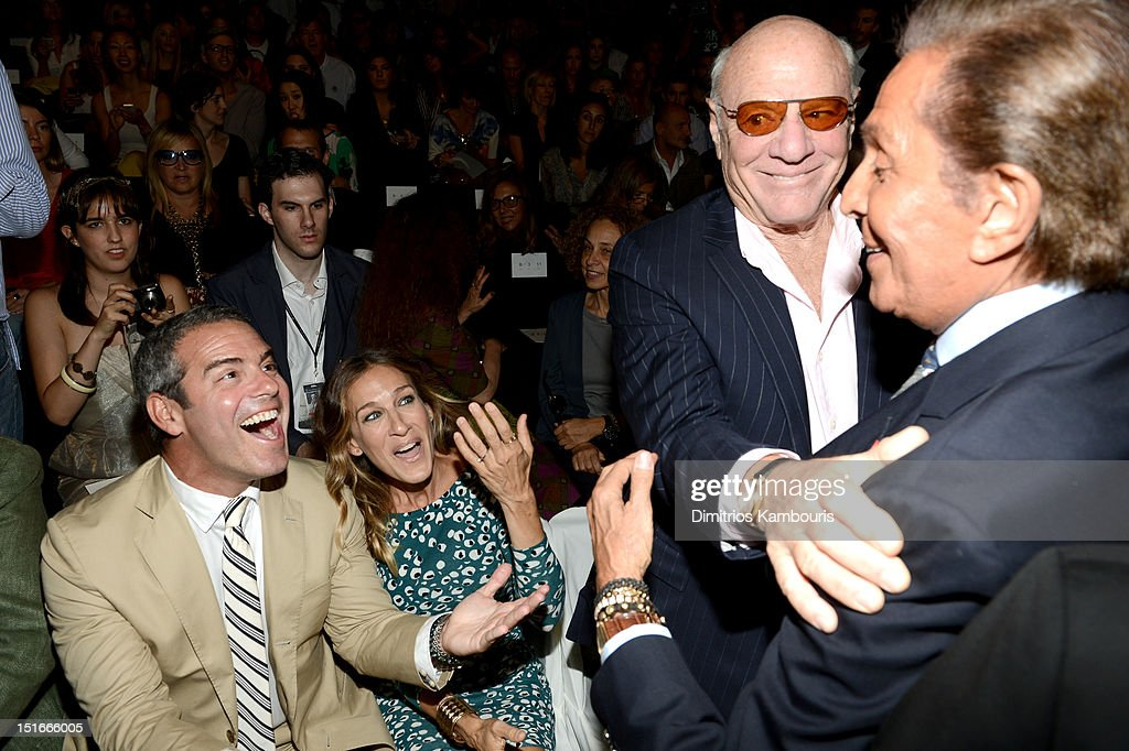 TV personality Andy Cohen, actress Sarah Jessica Parker, Barry Diller, Chairman and Senior Executive of IAC/InterActiveCorp and fashion designer Valentino Garavani attend the Diane Von Furstenberg Spring 2013 fashion show during Mercedes-Benz Fashion Week at The Theatre at Lincoln Center on September 9, 2012 in New York City.