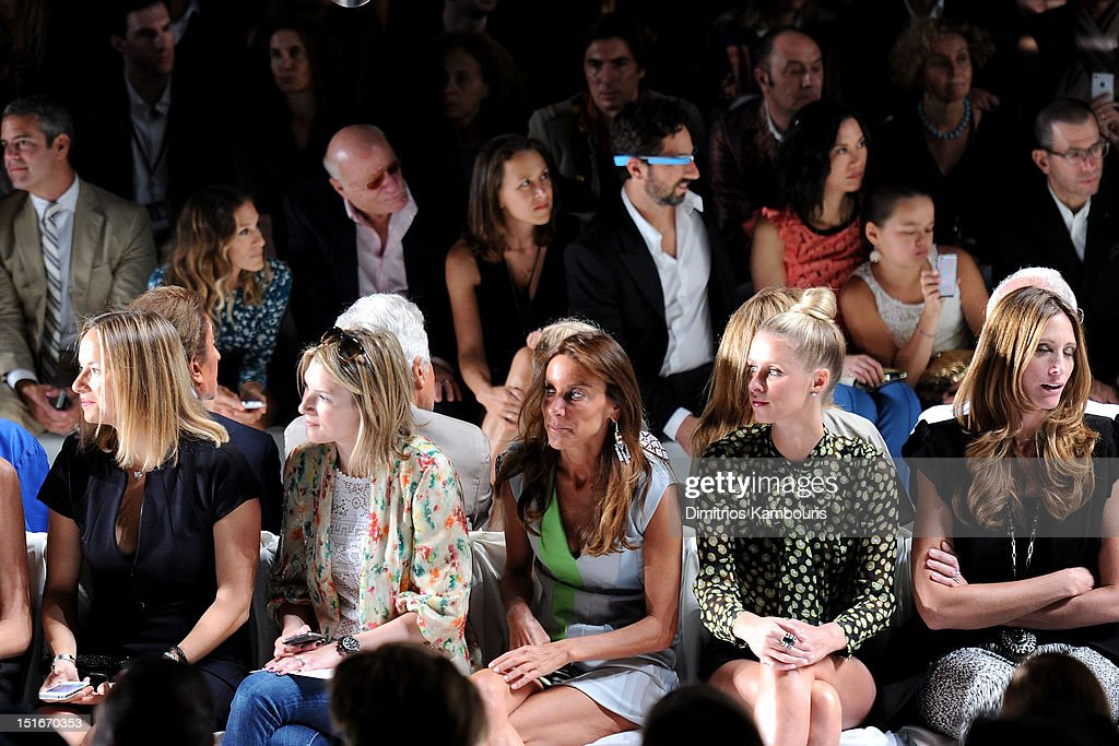 TV personality Andy Cohen, actress Sarah Jessica Parker, Barry Diller, Chairman and Senior Executive of IAC/InterActiveCorp, Anne Wojcicki, Google co-founder Sergey Brin, Wendy Murdoch, Grace Murdoch, (Front Row) Dori Cooperman (C) and Nikki Hilton (2nd R) attend the Diane Von Furstenberg Spring 2013 fashion show during Mercedes-Benz Fashion Week at The Theatre at Lincoln Center on September 9, 2012 in New York City.