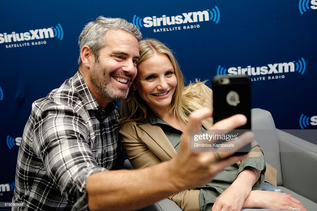 TV personality Andy Cohen and actress Cameron Diaz pose for a selfie at SiriusXM's Town Hall after her appearance on Andy Cohen's exclusive SiriusXM channel Radio Andy on April 5, 2016 in New York City.