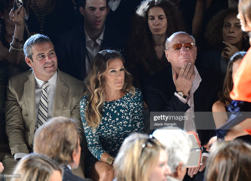 TV Personality Andy Cohen, Sarah Jessica Parker and Barry Diller, Chairman and Senior Executive of IAC/InterActiveCorp attend the Diane Von Furstenberg show during Spring 2013 Mercedes-Benz Fashion Week at The Theatre at Lincoln Center on September 9, 2012 in New York City.